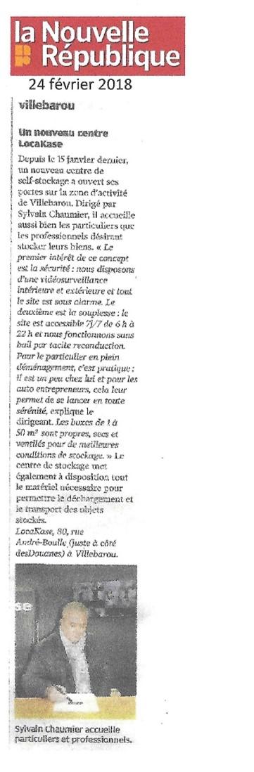 Article Garde meubles sur Blois - Locakase - Journal Nouvelle République